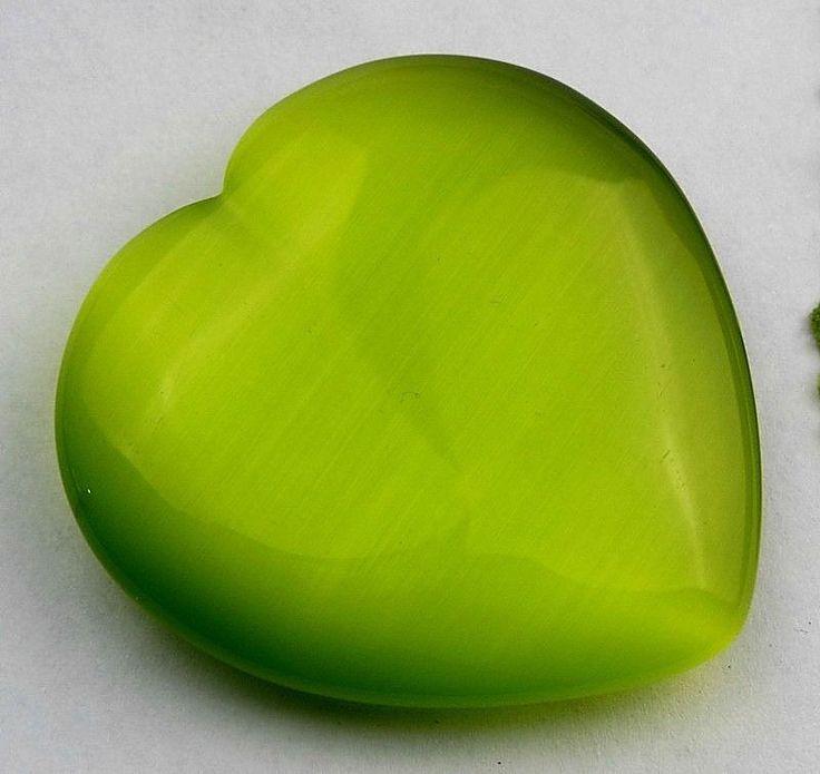 Green Cat Eye Gemstone heart 50x13mm cab cabochon x38259