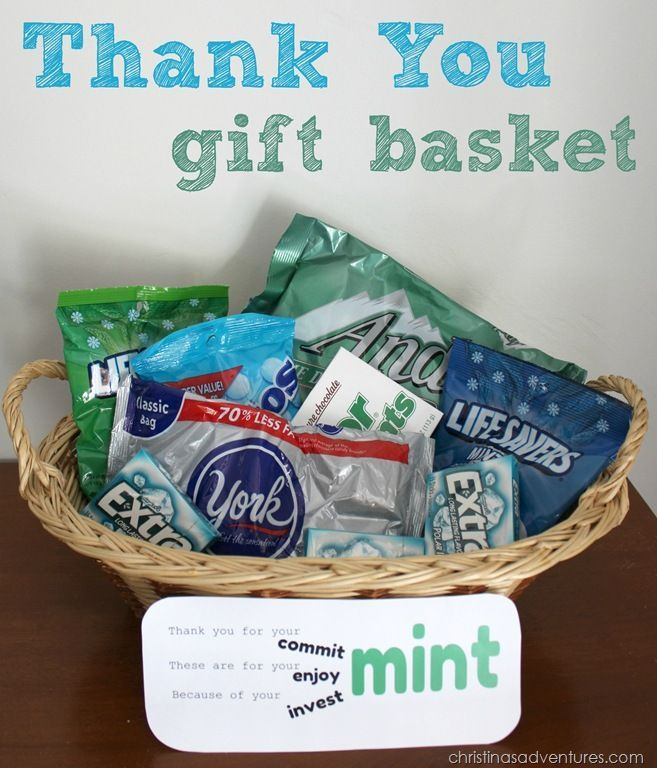 Mint themed thank you gift basket