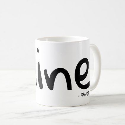 """Mine"" personalized with name Coffee Mug - black and white gifts unique special b&w style"