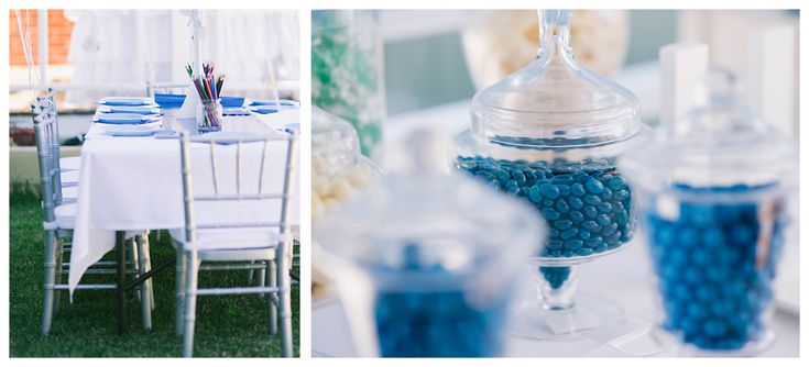 Blue Christening Lolly Table & Kids Sit Down Table