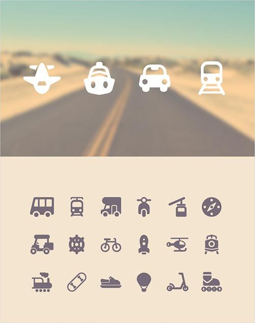 What would a travel-themed icon set be without icons of air and land transport?