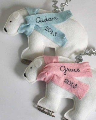 Polar Bears on Ice Skates Personalized Ornaments. Available exclusively at BabyGardner.com
