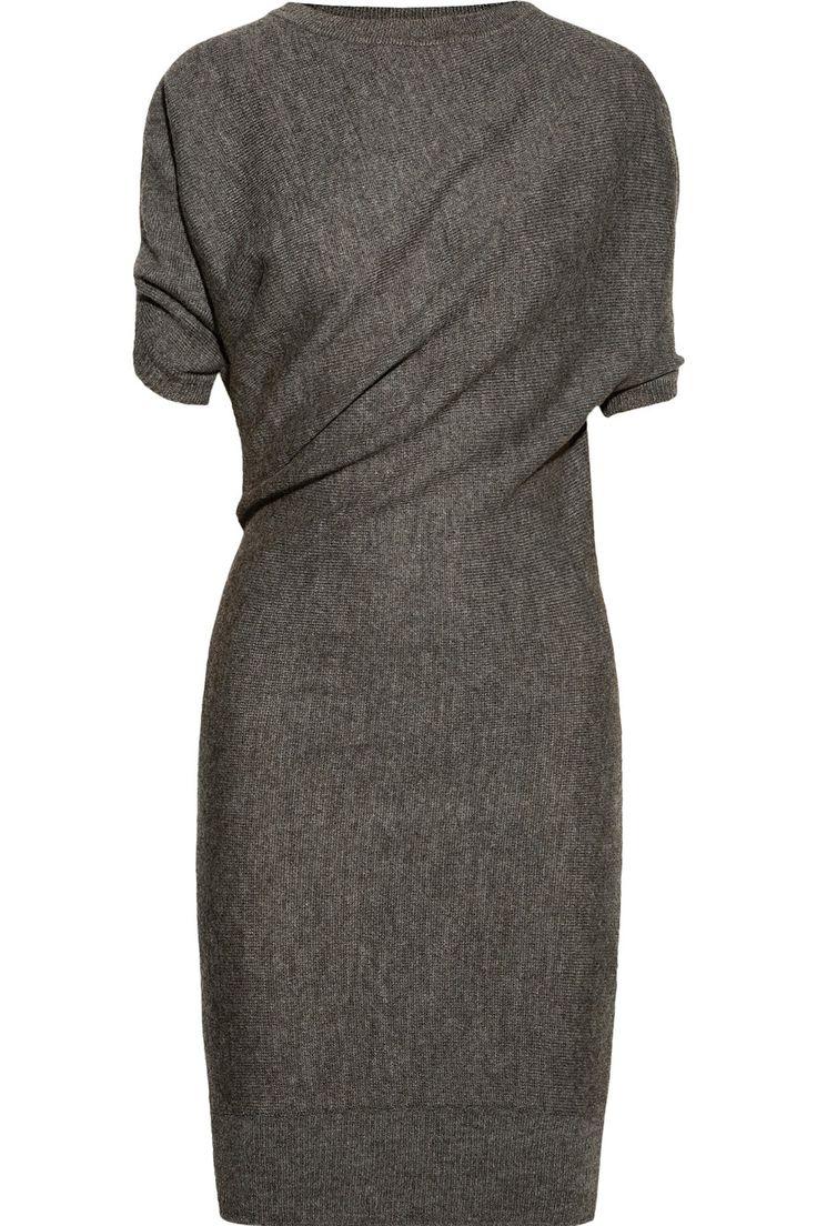 Lanvin|Draped alpaca and wool-blend dress|NET-A-PORTER.COM