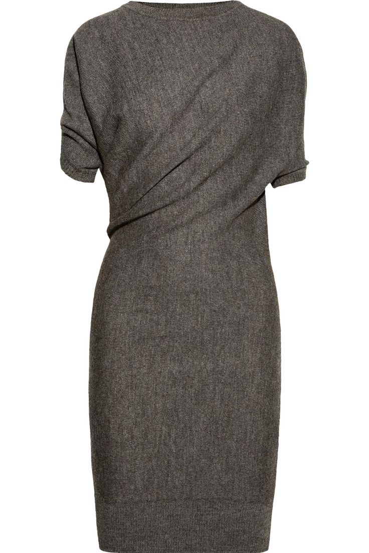 lanvin | draped alpaca and wool-blend dress