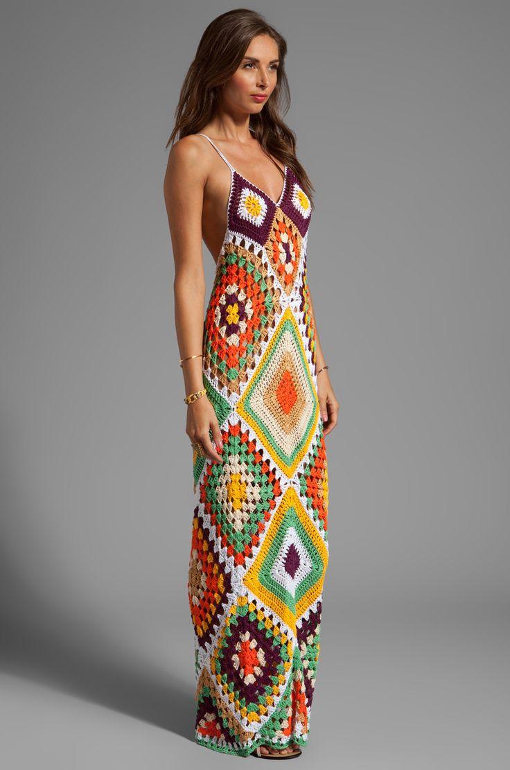 Indah Syra Crochet Maxi Dress en Gold Mix