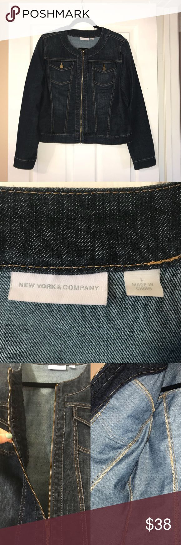 New York & Company Dark Blue Denim Jean Jacket Purchased about 2-3 years ago for around $60. Worm once or twice. Jacket has no signs of wear, no flaws, no defects, no damages, no rips and no holes. Zipper works perfectly fine.  Sizing runs true to size. My mom wore this, she's 5'9, weighs about 160 pounds and has 36D breasts and it fit her perfectly.   NO TRADES!! NO MODELING!! PRICE IS FAIR, FIRM & FINAL!! ALL OFFERS WILL BE DECLINED!! New York & Company Jackets & Coats Jean Jackets