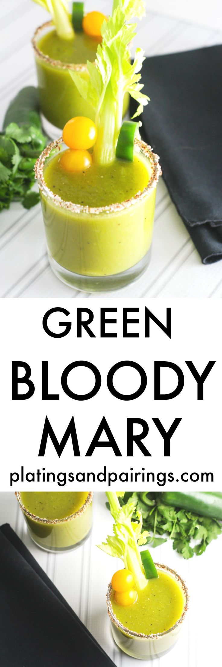 This Green Bloody Mary is a fun twist on the classic cocktail - Made with tomatillos, horseradish and jalapeno infused vodka | platingsandpairings.com