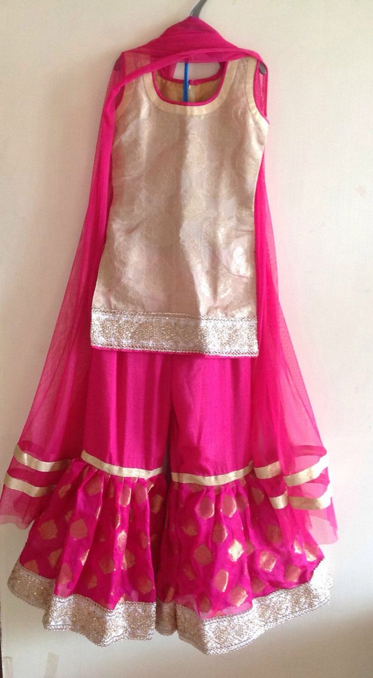 Girls Pink Beige And Gold Sharara Suit With Short Top And