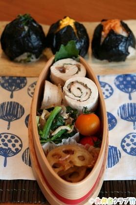 Japanese Onigiri Rice Balls and Chicken Rolls Bento Lunch|弁当