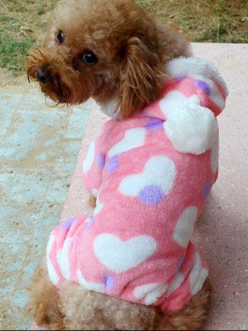 Pink Heart Pattern Warm Pet Dog Hoodies