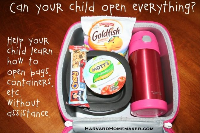 My favorite kindergarten tip:  make sure your child knows how to open what's in their lunch!  :) 10 Things to Think About Before Your Child Starts Kindergarten (That Have Nothing to Do With Academics).  #kindergarten #parenting #harvardhomemaker