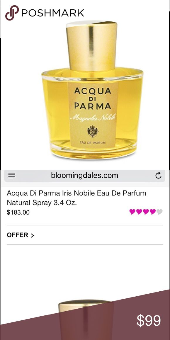 {AcquadiParma} Iris Nobile Eau De Toilette The essence of Italian Feminine elegance in a rich, sensuous interpretation. The unique personality of the Chypre accord, a timeless expression of refined feminine charm. The subtle elegance of a rich floral bouquet. An exclusive and intense Eau de Toilette for an enchanting woman who embodies timeless elegance and intriguing mystery—two sides of the feminine personality.  Used 2x only, so it's in like new condition. Comes without box. Acqua di…