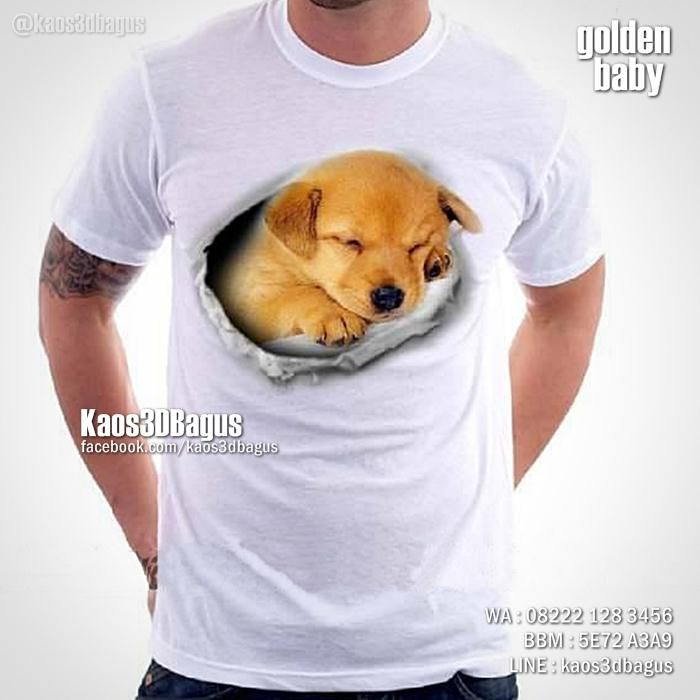 Kaos GOLDEN BABY DOG, Kaos ANAK ANJING LUCU, Kaos PUPPY DOG, Kaos3D, Dog Lover, Pet Lover, Golden Retriever, https://instagram.com/kaos3dbagus, WA : 08222 128 3456, LINE : Kaos3DBagus
