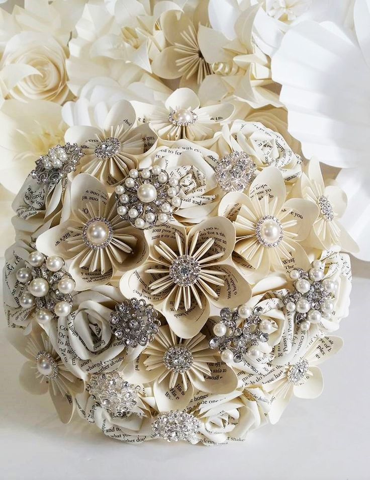 Paper Book Flower Bouquet Origami UK Bridal crystal rose vintage silver grey winter ivory theme alternative silk foam brooch button wedding by PaperBouquetsUK on Etsy https://www.etsy.com/ca/listing/266610302/paper-book-flower-bouquet-origami-uk