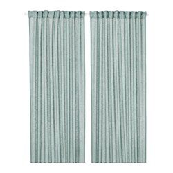 The curtains lower the general light level and provide privacy by preventing people outside from seeing directly into the room. The natural material ramie gives the curtains a slightly irregular texture which filters light softly. The curtains can be used on a curtain rod or a curtain track. The heading tape makes it easy for you to create pleats using RIKTIG curtain hooks. You can hang the curtains on a curtain rod through the hidden tabs or with rings and hooks.