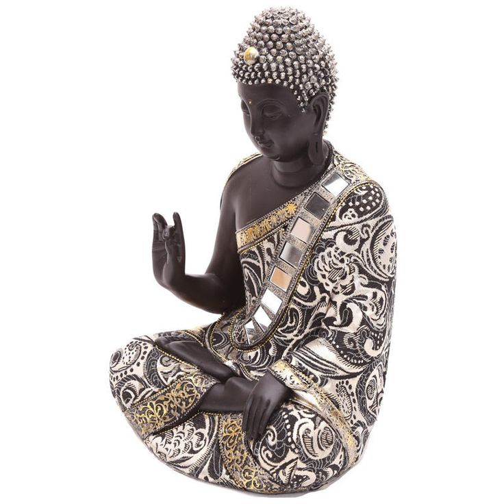 Home Decorative Thai Buddha Metallic Figurine Hand Up New Ornament Height 29.5cm