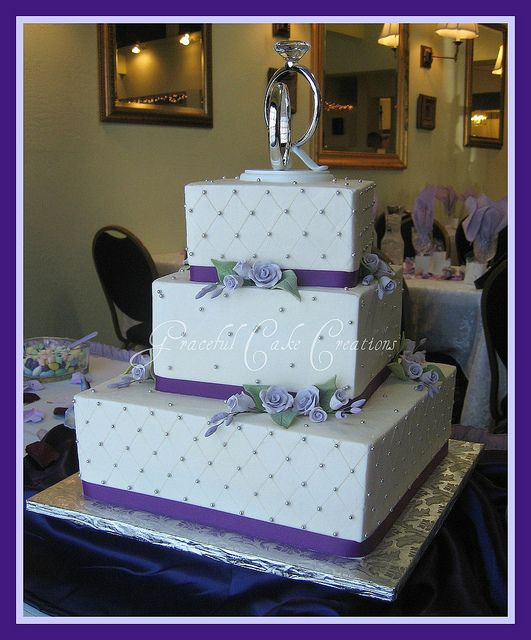 Square Wedding Cake with Lavender Roses and Purple Ribbon by Graceful Cake Creations, via Flickr