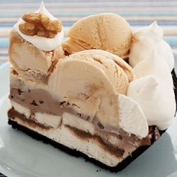 Frozen Banana Split Pie - made with ice cream, bananas, fudge sauce, chocolate cookie crust and whipped topping