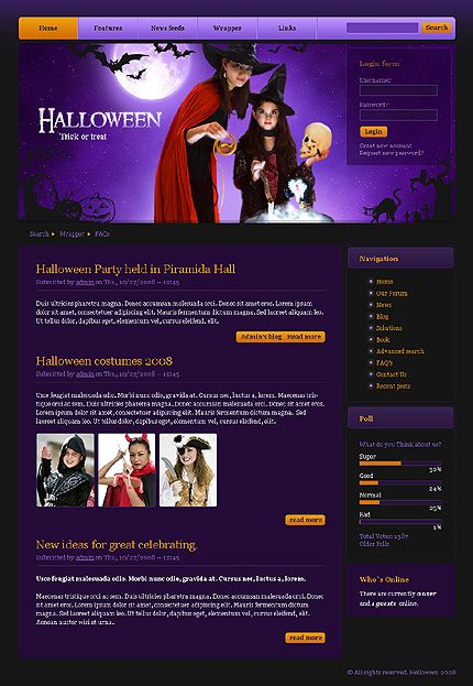 Drupal #template // Regular price: $35 // Unique price: $1200 // Sources available: .PSD, .PHP #Website #Halloween  #Wide #Drupal