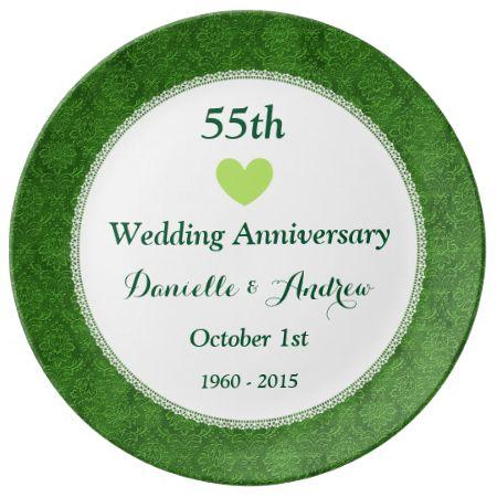 55th Wedding Anniversary EMERALD GREEN Damask W55A Porcelain Plate
