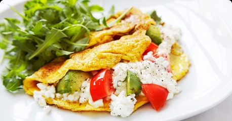 Omelette with cottage cheese and avocados