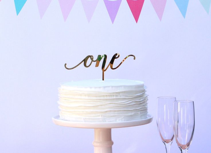 Mirrored gold cake topper | one topper | calligraphy birthday cake topper | anniversary decor | elegant first birthday topper | 1 year old
