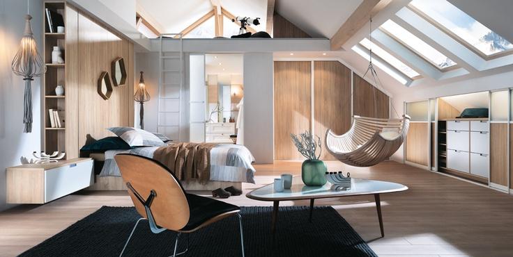 Chambres et suites parentales chambre soupente rangement for Suite parentale mobalpa
