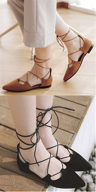 What pointed toe flats with a lace up touch would you wear? Beige or Black? Click to shop for favorite one!