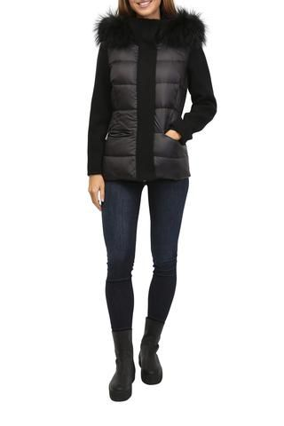 Black Puffer Coat With Collar & Hood