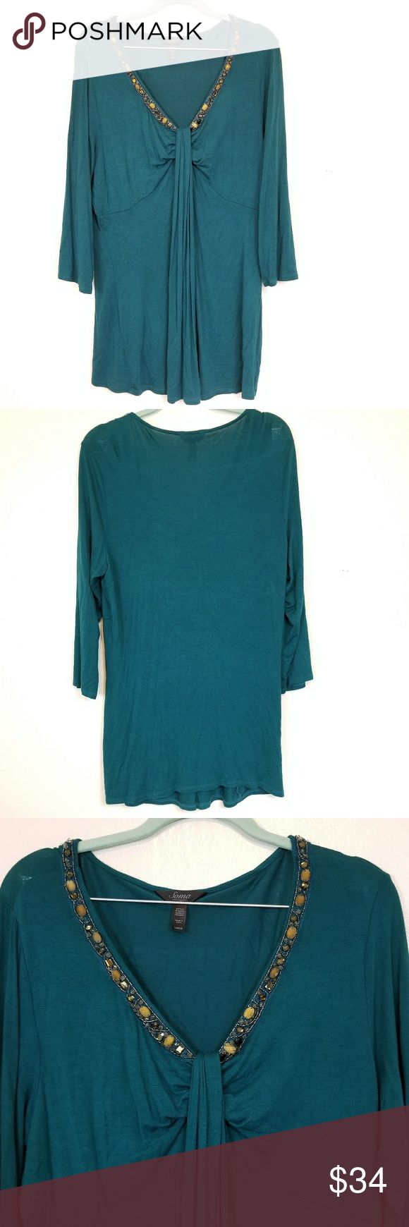 Soma Embellished Shirt Emerald green Soma tunic. It has beading around the front of the neckline. The cut is very flowy and flattering to any shape. Soma clothing is so incredibly soft and comfortable. You can wear a nice blouse like this one and still feel like your wearing pajamas. Measurements  Length 31 inches Sleeve 20 Pit to pit 21 Soma Tops Blouses