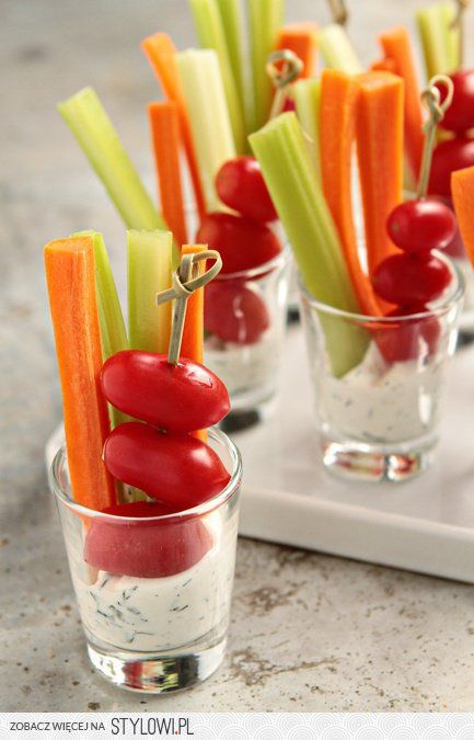 canapes - raw vegetables & (raw) dressing in the shot glass