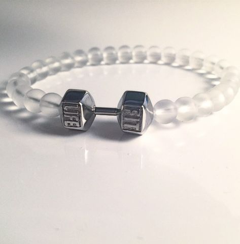 The FitLife Dumbbell Bracelets are made out of stainless steel and high quality 6.5mm glass beads.