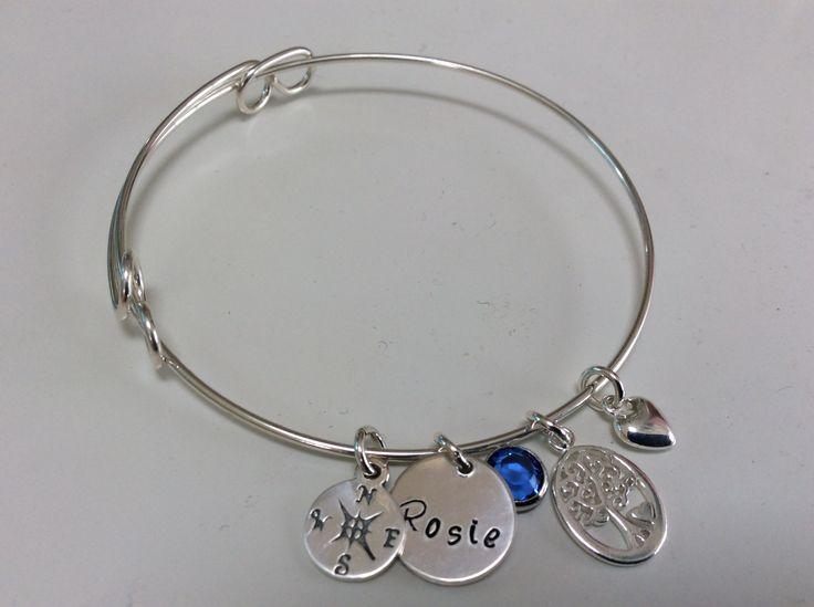 Silver expandable bracelet birthday present for a dear friend with September Swarovski crystal stone ❤️