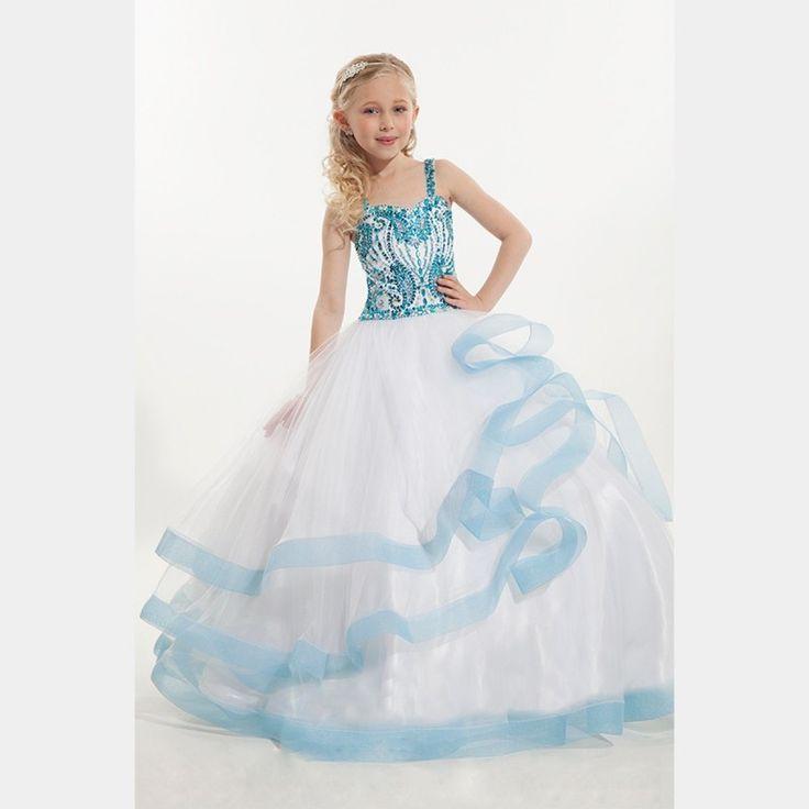 Дешевые дети бисером красочные бальные платья принцессы тюль кристалл опухшие спагетти с возлюбленной белые девушки конкурс платье