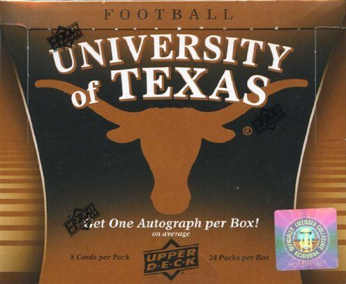2011 Upper Deck University of Texas Football Hobby Box (1 Autograph Per Box!) by University of Texas. $28.95. Look for (1) Autograph from a Longhorn Football Great in every box!! Find Autos from the following Texas Legends: - Colt McCoy - Darrell Royal - Earl Campbell - Ricky Williams - Priest Holmes - Major Applewhite - Mack Brown - Vince Young - Johnny 'Ham' Jones - Steve McMichael Get two (2) special light F/X UT Icons inserts per box! Look for themed inserts pairing...