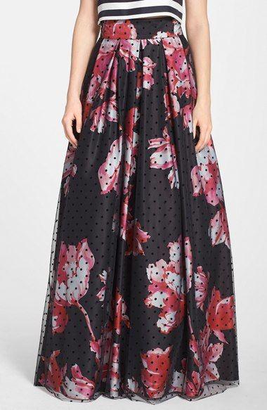 Eliza J Dot Mesh Overlay Floral Print Ball Skirt available at #Nordstrom