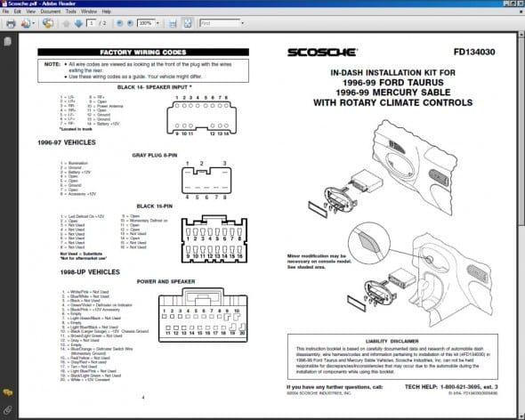 1999 Ford Taurus Wiring Diagram Di 2020 Dengan Gambar