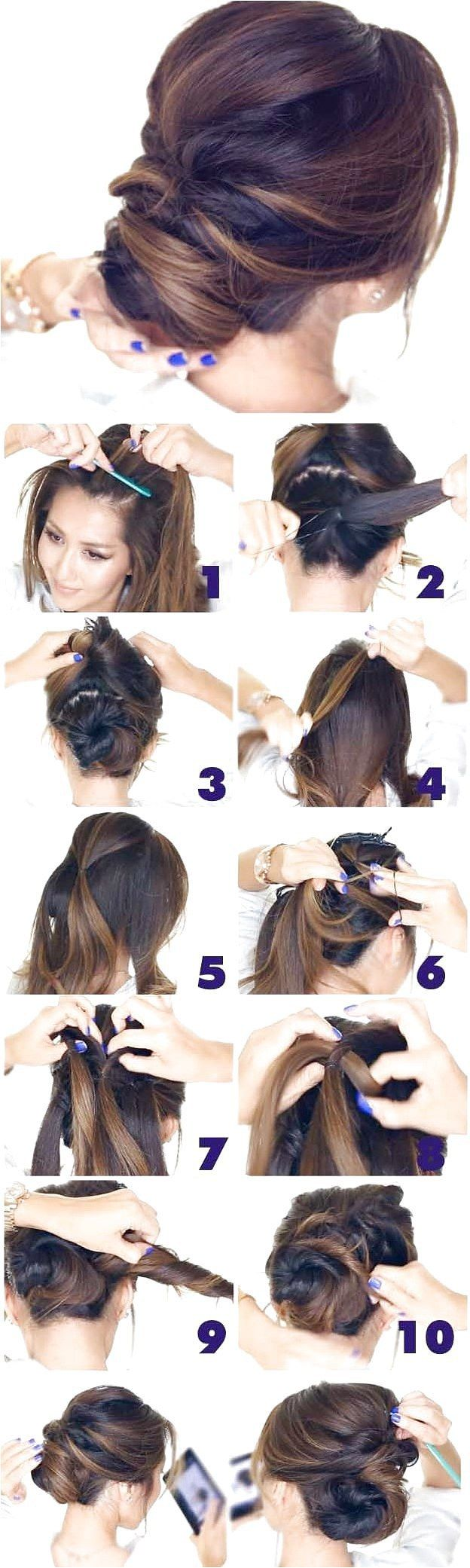 [ Quick And Easy Hairstyles For School : Best Hairstyles for Brides - 5 Minute Elegant Chignon- Amazing Hair Styles and Looks for Half Up Medium Style...