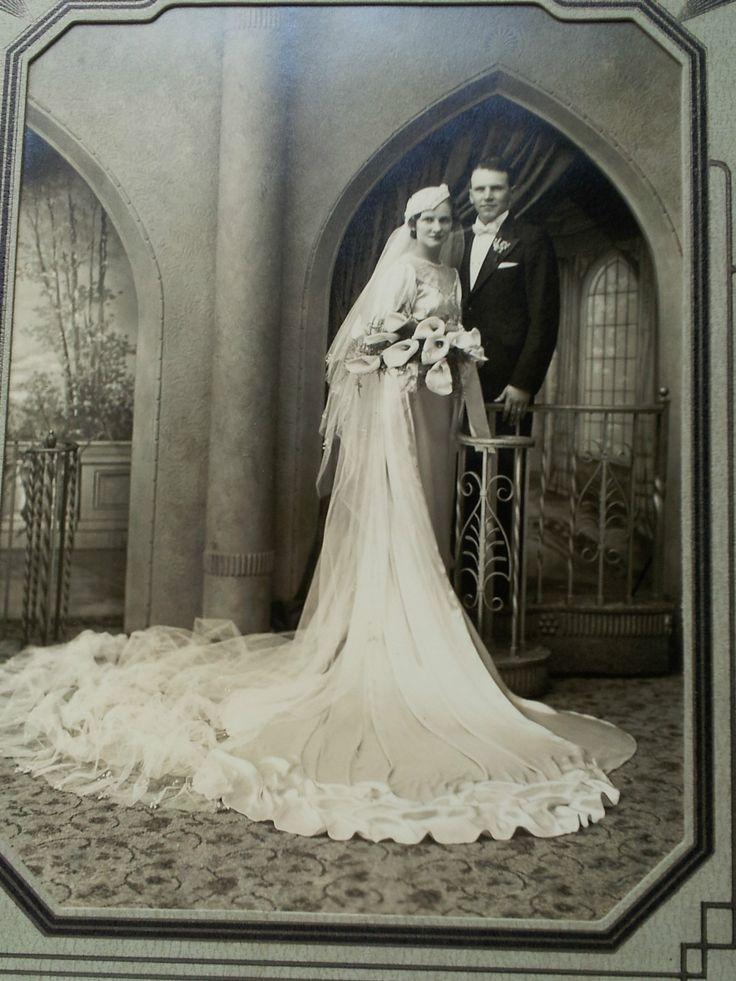 Best ANTIQUE Portrait Photo Bride Groom Wedding Couple s s Art Deco Gown Hat