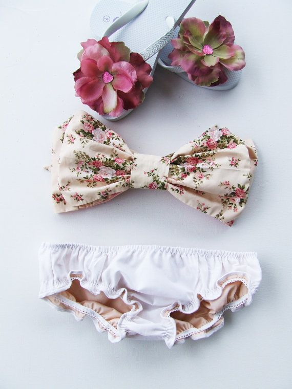 Vintage Bow Bandeau Sunsuit Bikini style. DiVa Halter Neck in Cottage Rose Vintage Floral. Sexy and cute. Bra Top and curly Leg panties. on Etsy, $99.70