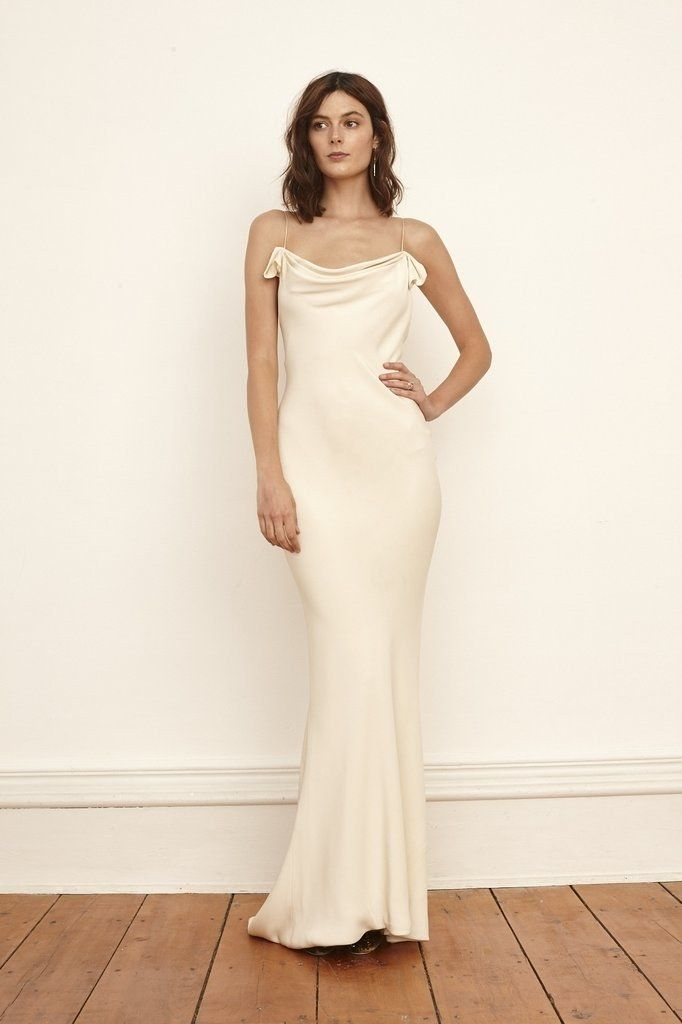 Cream Slip Wedding Dress