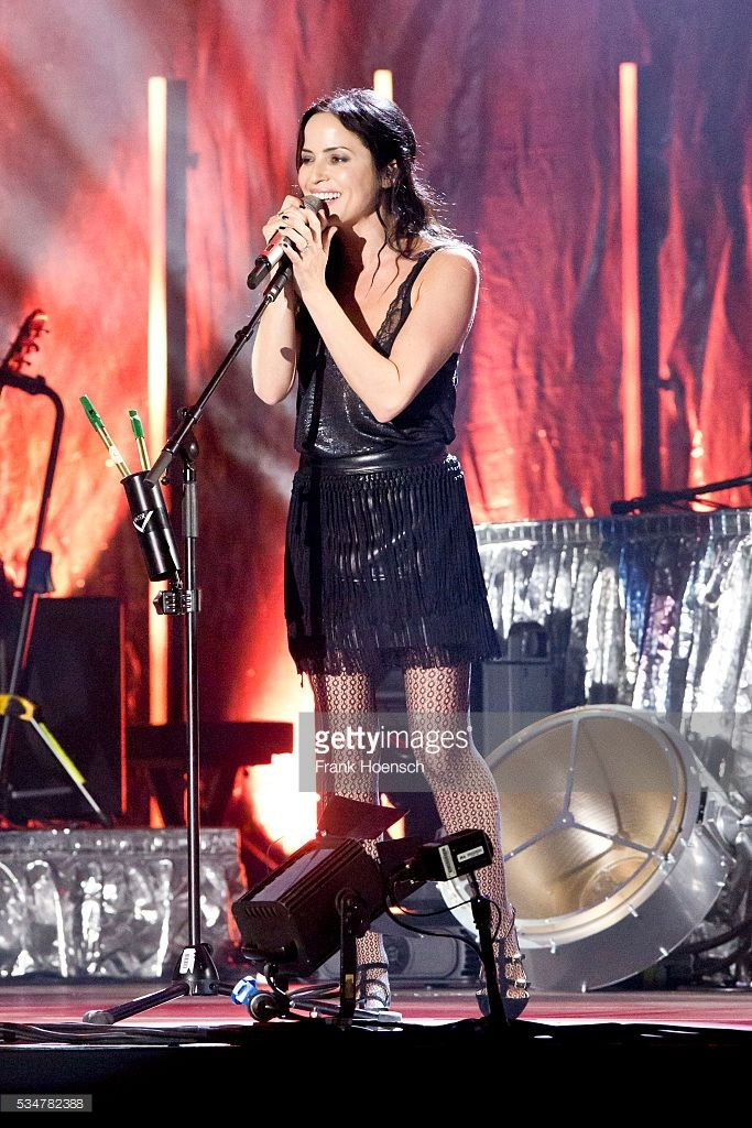 Singer Andrea Corr of the Irish band The Corrs performs live during a concert at the Mercedes-Benz Arena on May 27, 2016 in Berlin, Germany.