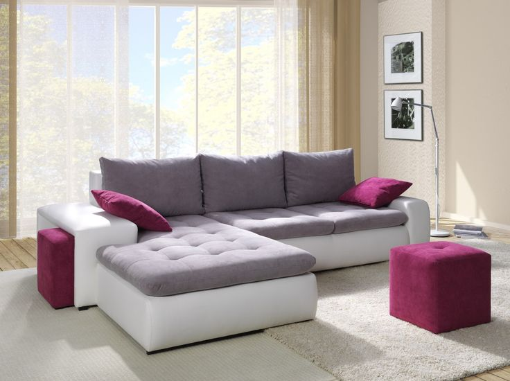 modern simple sectional sofa sleeper with storage and purple cushions plus broken white rug as well - Small Sleeper Sofa