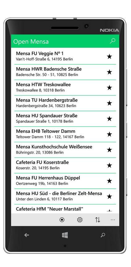 OpenMensa zeigt dir, was es heute in der Mensa Deiner Uni zu essen gibt. Zur Zeit werden über 150 Mensen im deutschsprachigen Raum unterstützt. Diese App stellt dabei eine Verbindung zur Datenbank auf http://openmensa.org/ her. Für Windows 10 & Windows 10 Mobile Download Link: https://www.microsoft.com/de-de/store/p/open-mensa/9nk1s4prngvm?rtc=1