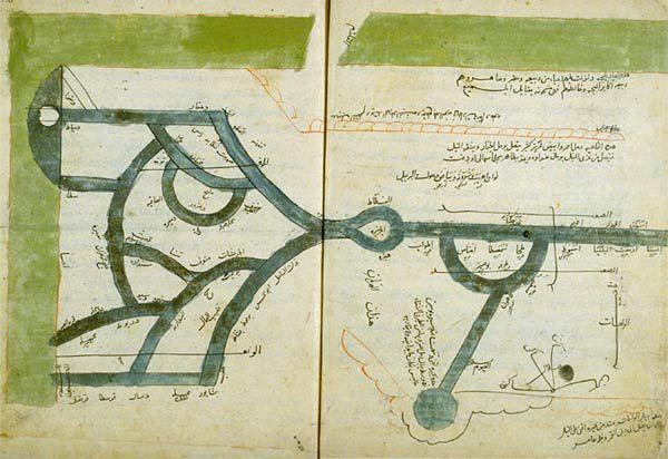 Les sources du Nil  Ibn Hawqal, Manuel de géographie. Fin Xe siècle. Copie du XVIe siècle d'après un manuscrit de 1443-1444. Manuscrit (35 x 43 cm). BnF, Manuscrits (Arabe 2214 fol. 11v-12)Nil kaynakları İbn Havkal, coğrafya Kılavuzu. Geç onuncu yüzyıl. 1443-1444 arasında bir el yazması on altıncı yüzyıl kopyası