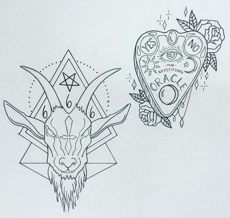 Ouija board tattoo. Goat head tattoo. Satanic tattoo.