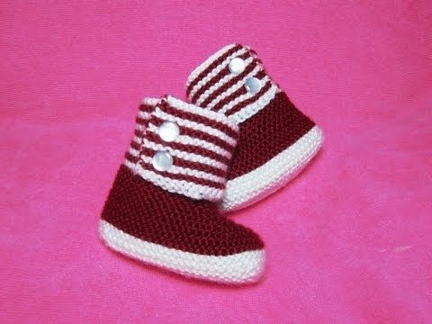▶ How to Knit Boot Style Red and White Baby Booties Part 1 - Right Bootie - YouTube, size 6-12 mos.