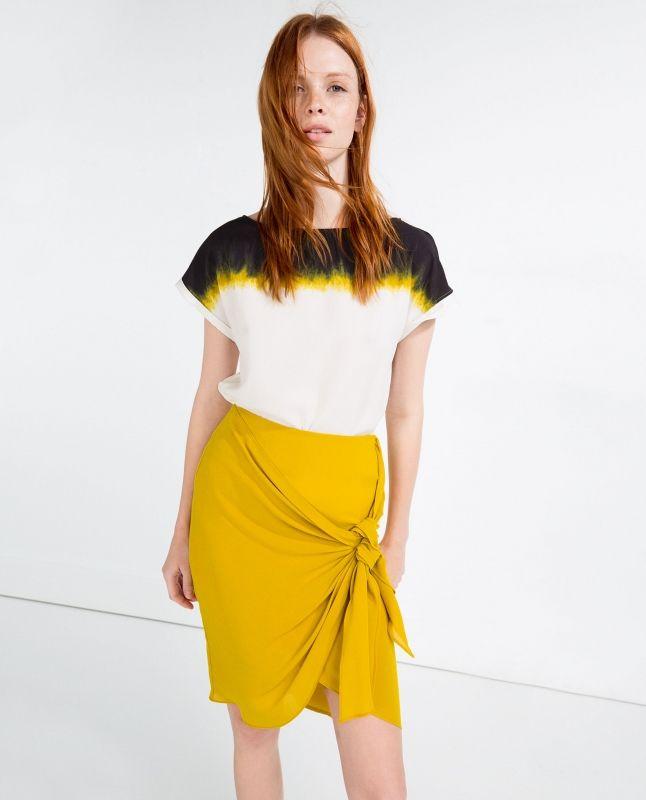 Robe courte jaune zara