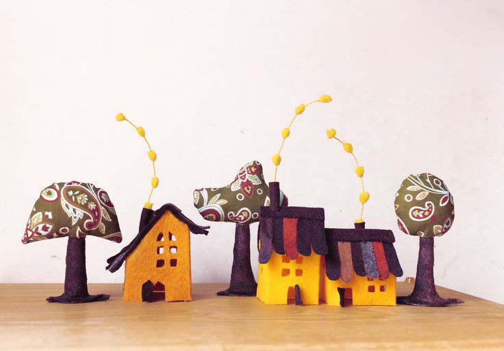 Yellow Cabins with trees. Miniature. by Intres on Etsy https://www.etsy.com/listing/178997477/yellow-cabins-with-trees-miniature