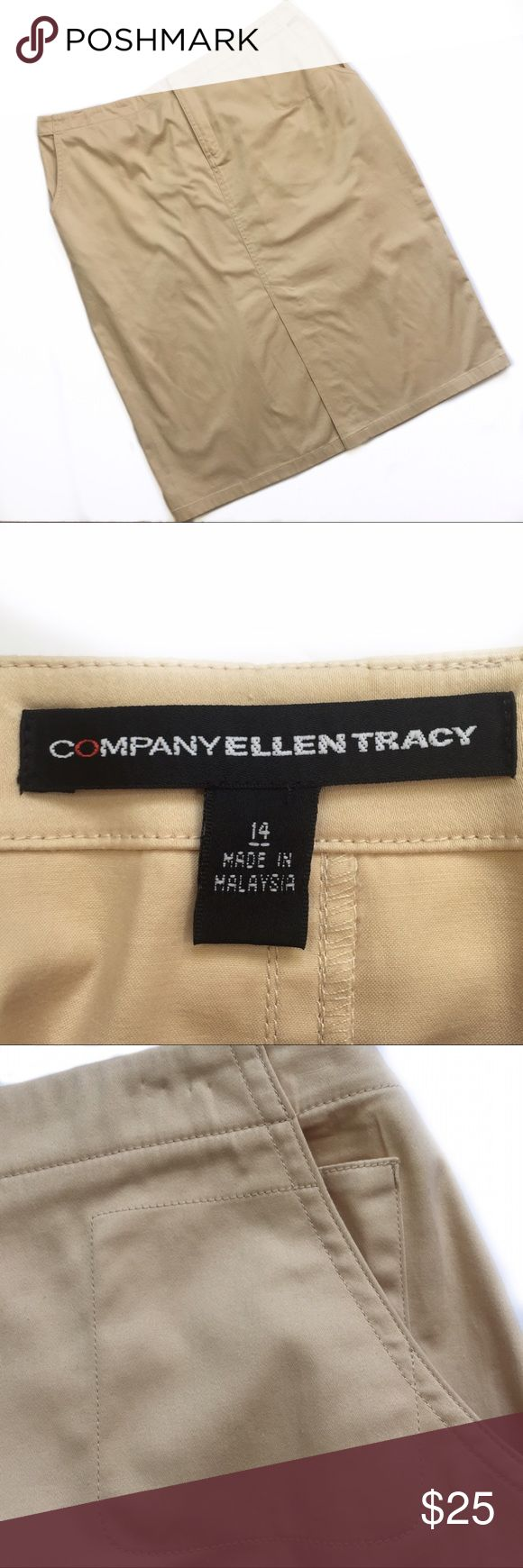 """Company Ellen Tracy khaki pencil skirt plus size Size 14 - Ellen Tracy - super cute khaki pencil skirt with a 5 pocket style. Zipper and hidden hook & eye closure at front. Split at front middle of skirt to allow for movement. Dress it up or keep it casual! Waist laying flat measures 17.5"""" across (might be worn a little high waisted). Hips (at widest point) measures 24"""" across, laying flat. In like-new condition. Ellen Tracy Skirts Pencil"""
